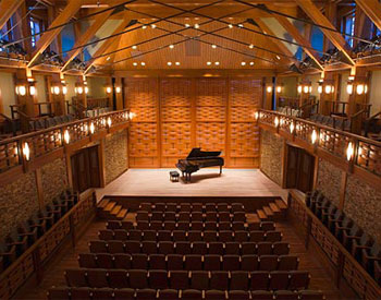 Evening inside the performance hall of Rockport Music's Shalin Liu Performance Center
